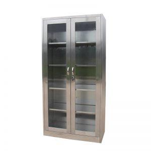 Lemari kaca stainless steel 2 pintu