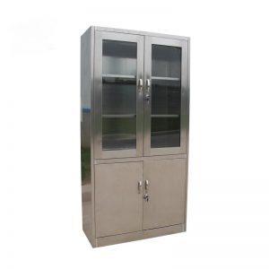 Lemari kaca stainless steel 2 pintu atas