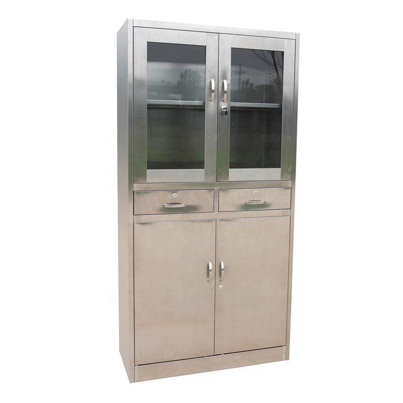 Jual Lemari kaca stainless steel 2 pintu laci