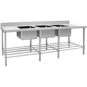 Jual Sink Stainless Triple Bowl table side